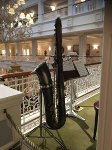 bari sax for the band that plays in the lobby at the Grand Floridian
