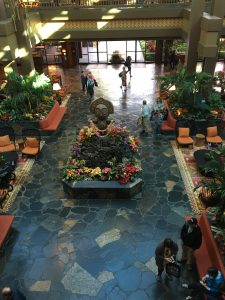 the lobby of the Polynesian Resort hotel