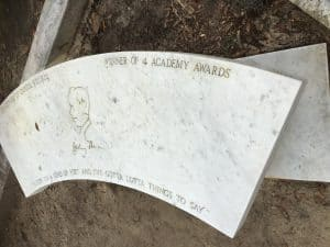 Conrad Aiken's bench shaped tombstone at Bonaventure Cemetery