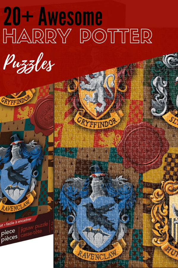 harry potter puzzle box with Hogwarts House logos
