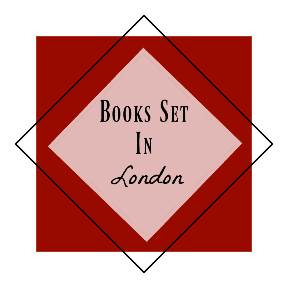 red background with black words: Books Set in London