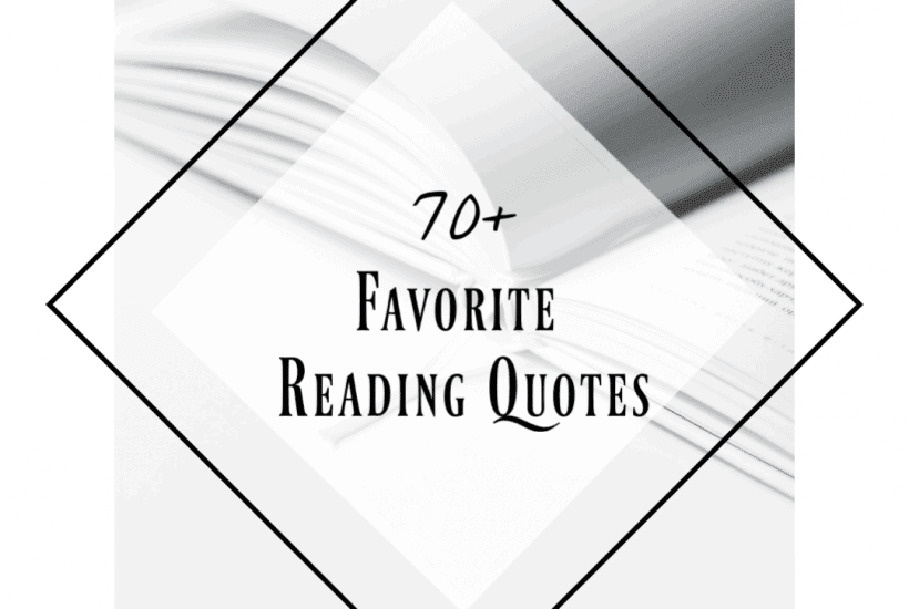 white background with white book, wording 70+ favorite reading quotes