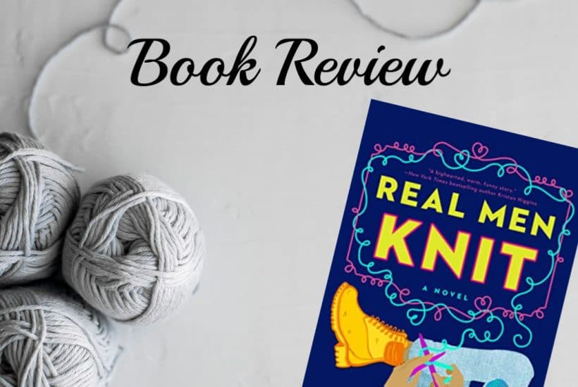 background image with soft grey year, book cover of Real Men Knit by Kwana Jackson, text Book Review