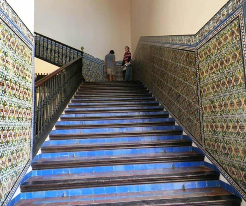 Beautiful tile staircase in the Royal Alcazar palace in Seville