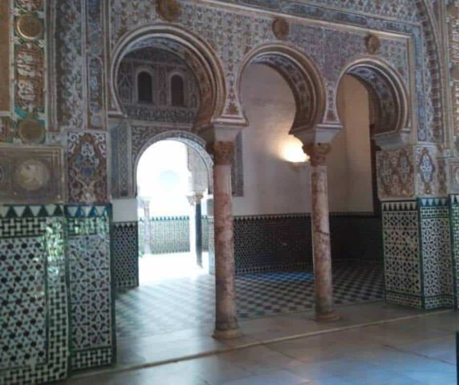 Beautiful tiles in the Royal Alcazar palace in Seville
