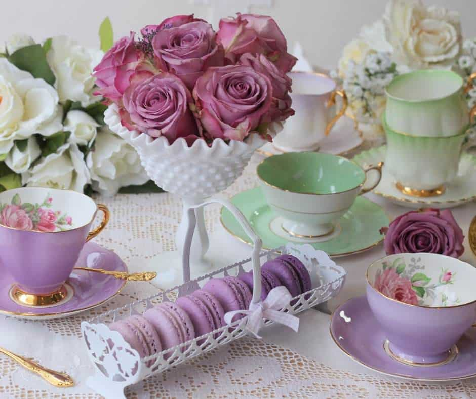 Afternoon tea with flowers and cookies is perfect for any Jane Austen vacation