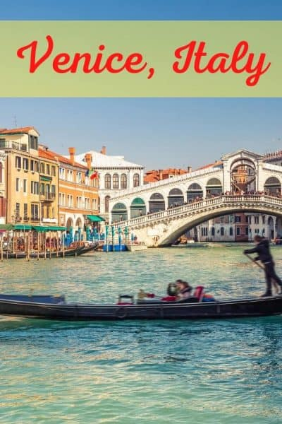 books set in Venice, gondola in front of a bridge with house along the water's edge