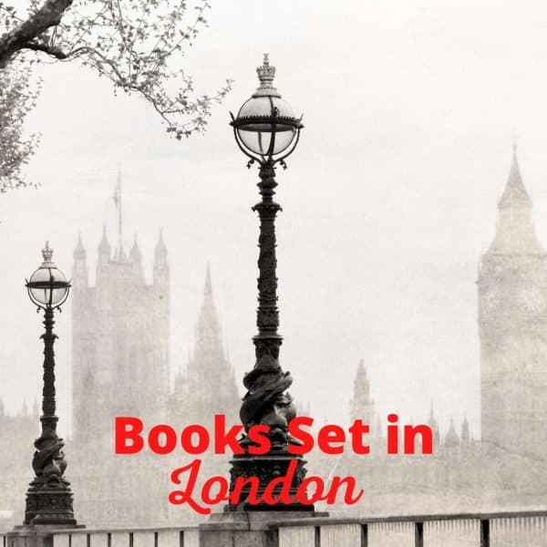 foggy london with dark lampposts in foreground. Words in red - Books set in London