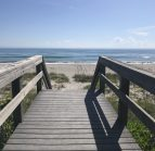 wooden boardwalk heading to Melbourne beach in Florida
