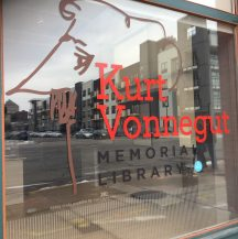 front window for Kurt Vonnegut's museum in Indianapolis