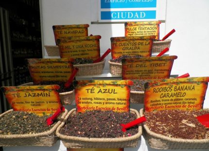 bowls with tea on a table with names and descriptions written in Spainish